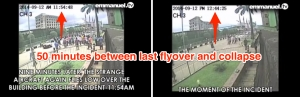 Proof that it was 50 minutes between the last flyover of an aircraft and the building collapse