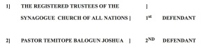 TB Joshua listed as a defendant in the case